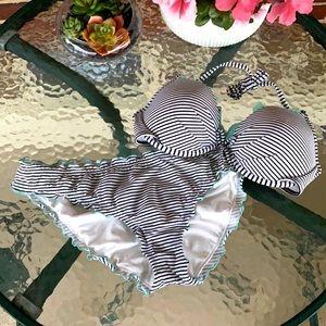 Victoria's Secret Striped Swimsuit Set, 34C/ Large